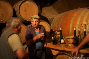 Domaine du Vissoux, Beaujolais local workers take a pause amongst the barrels in the cellar  September 16, 2007 Photo by Owen Franken for the NY Times